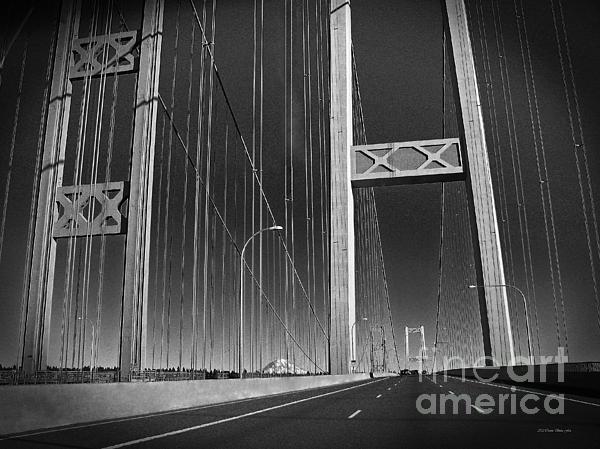 Tacoma Narrows Bridge B W Print by Connie Fox
