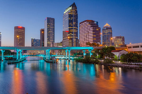 Tampa Skylines Print by RB Art