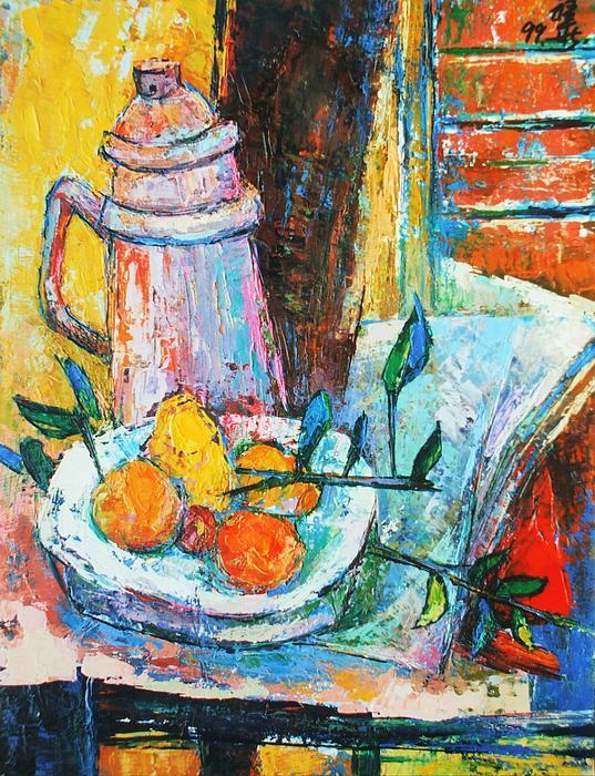 Tankard And Fruit Print by Siang Hua Wang