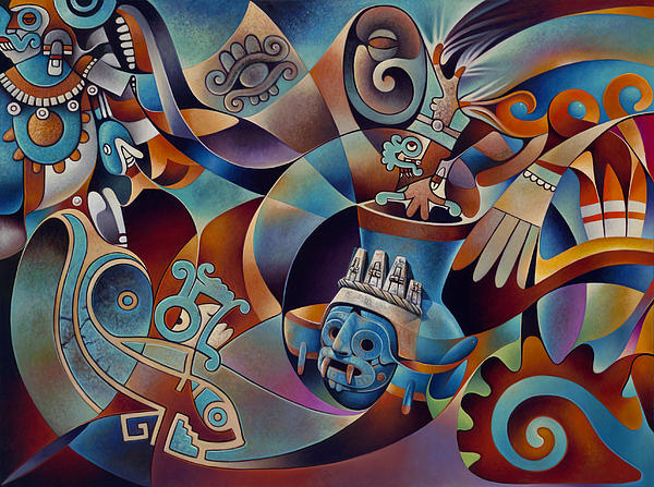 Tapestry Of Gods-tlaloc Print by Ricardo Chavez-Mendez