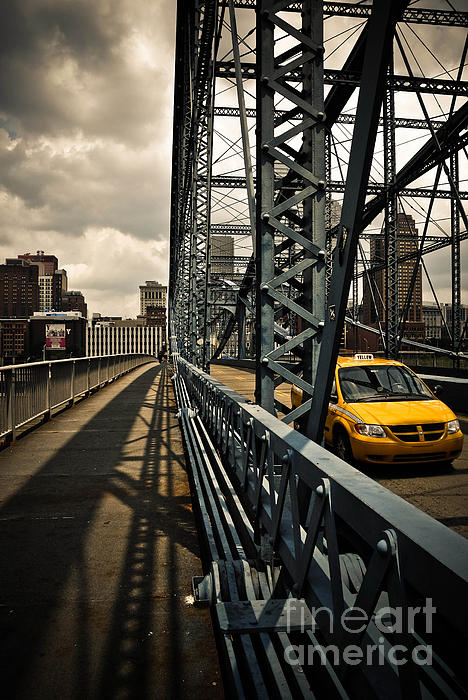 Taxi Crossing Smithfield Street Bridge Pittsburgh Pennsylvania Print by Amy Cicconi