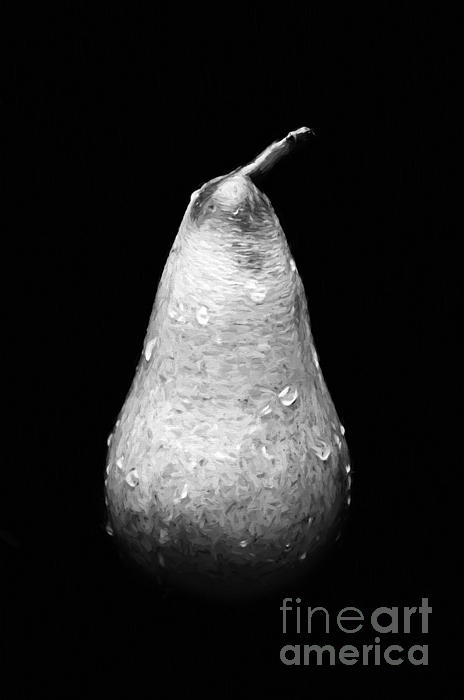 Tears Of A Sad Pear In Silver Print by Andee Design