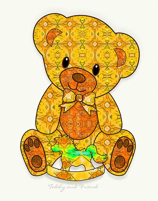 Teddy And Friend Print by Gayle Odsather