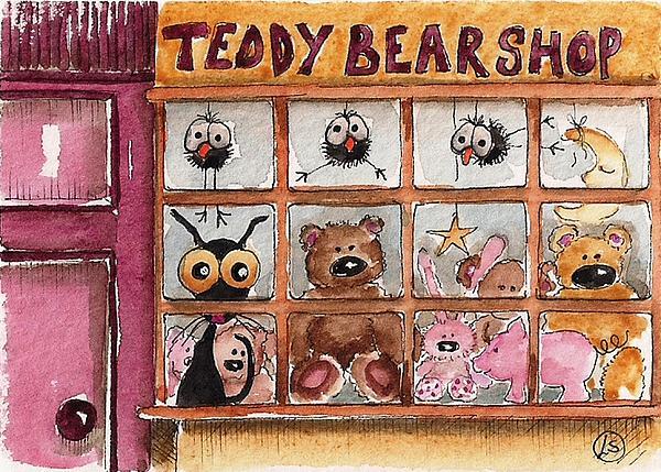 Teddy Bear Shop Print by Lucia Stewart