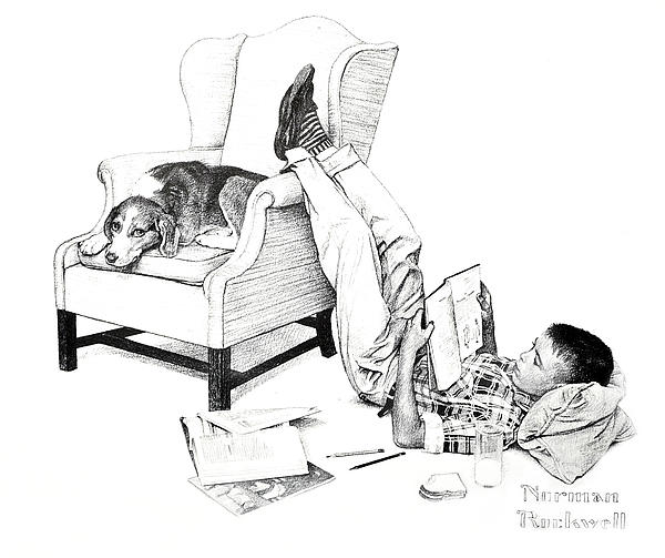 Teenager Studying Print by Susan Leggett