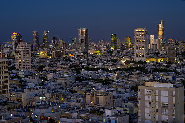 Tel Aviv At The Twilight Magic Hour Print by Ron Shoshani