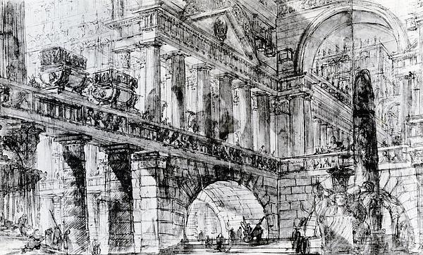 Temple Courtyard Print by Giovanni Battista Piranesi