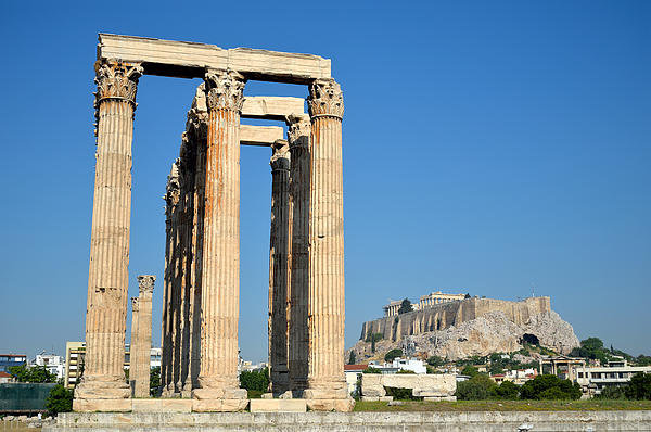 Temple Of Olympian Zeus And Acropolis In Athens Print by George Atsametakis