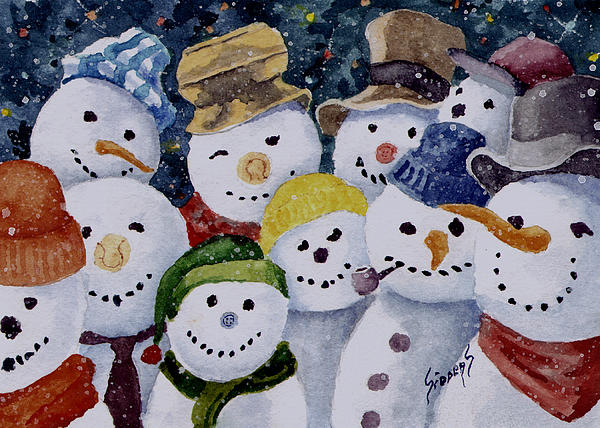 Ten Little Snowmen Print by Sam Sidders