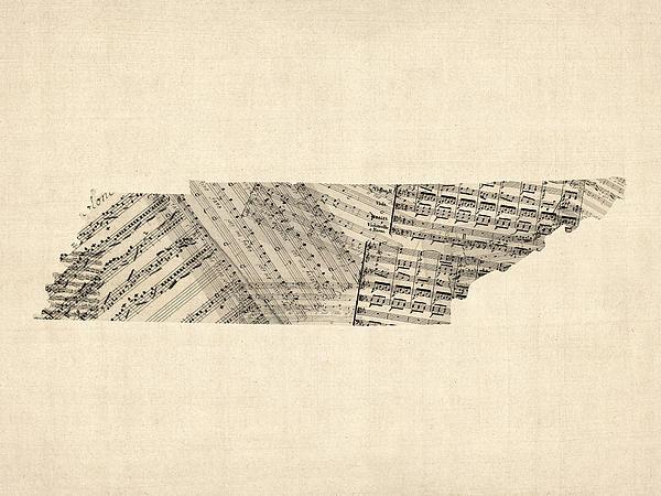 Tennessee Map Sheet Music Print by Michael Tompsett