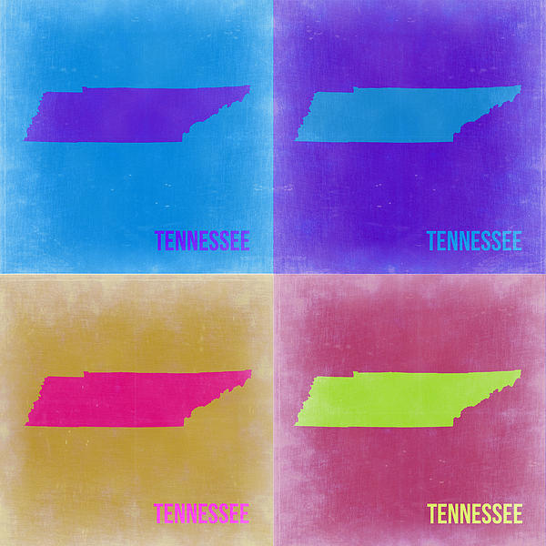 Tennessee Pop Art Map 2 Print by Naxart Studio