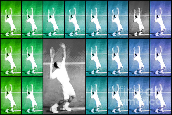 Tennis Serve Mosaic Abstract Print by Natalie Kinnear