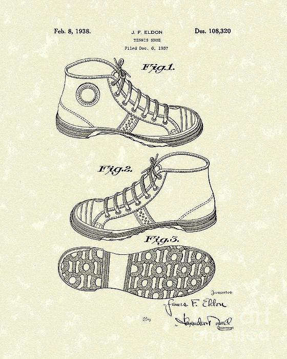 Tennis Shoe 1938 Patent Art Print by Prior Art Design