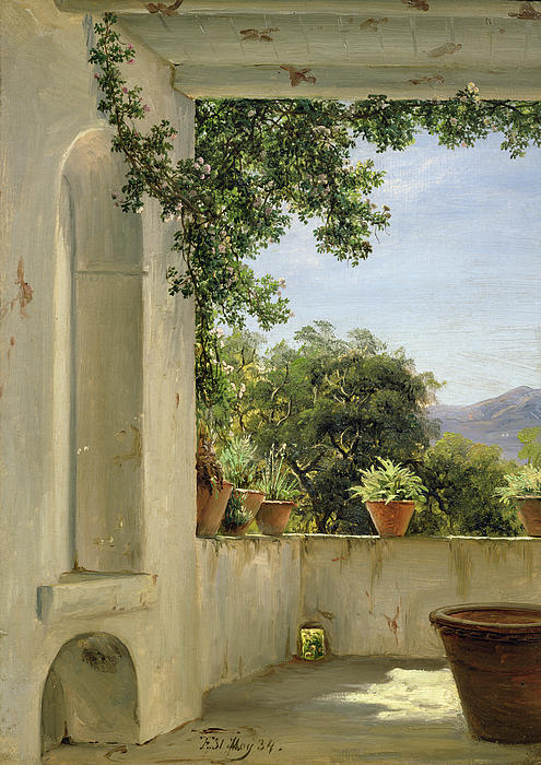 Terrace In Sorrento Print by Thomas Fearnley