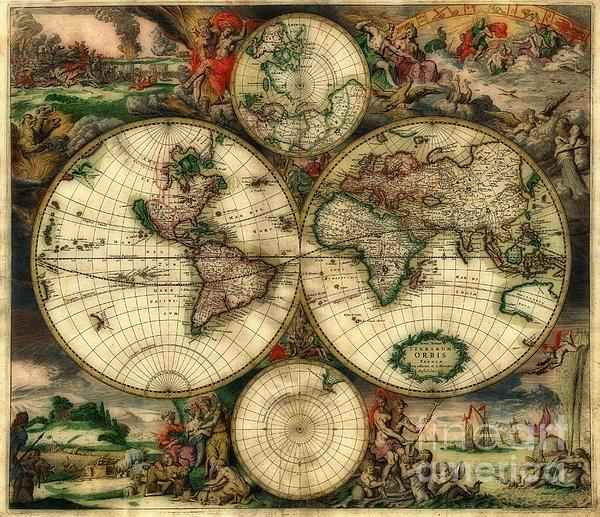 Terrarum Orbis Old World Map  Print by Inspired Nature Photography By Shelley Myke