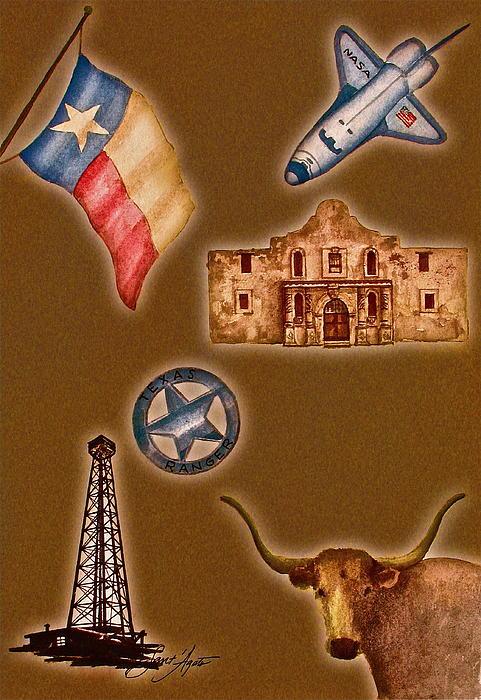 Texas Icons Poster By Sant'agata Print by Frank SantAgata