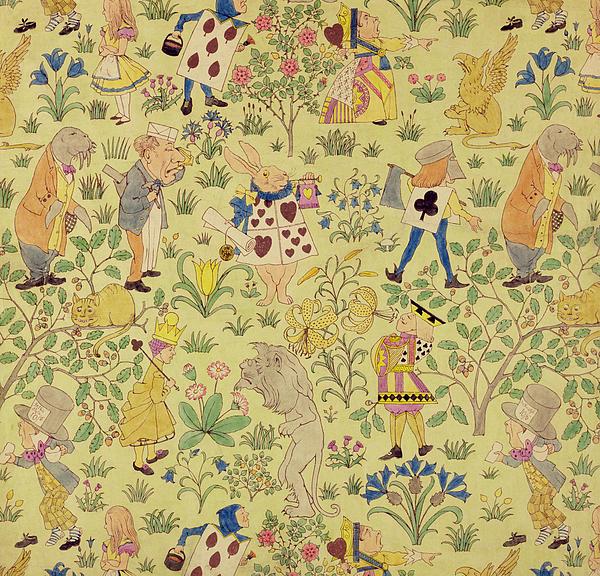 Textile Design For Alice In Wonderland Print by Voysey