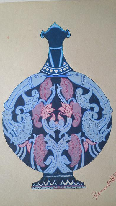 Textured Long-necked Flask Print by Poonam Mehta Dutt