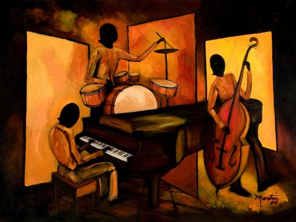 The 1st Jazz Trio Print by Larry Martin