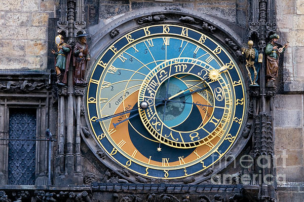 The Astronomical Clock In Prague Print by Michal Bednarek