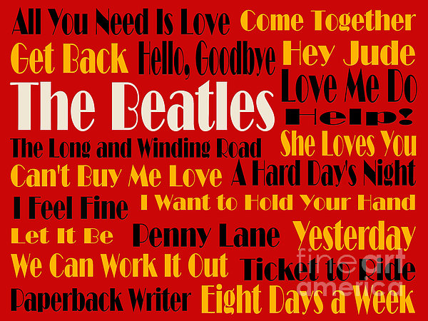 The Beatles 20 Classic Rock Songs 2 Print by Andee Design