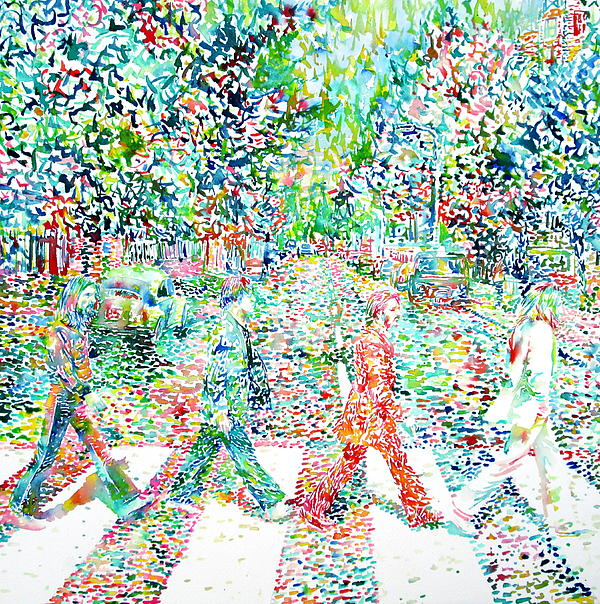 The Beatles Abbey Road Watercolor Painting Print by Fabrizio Cassetta