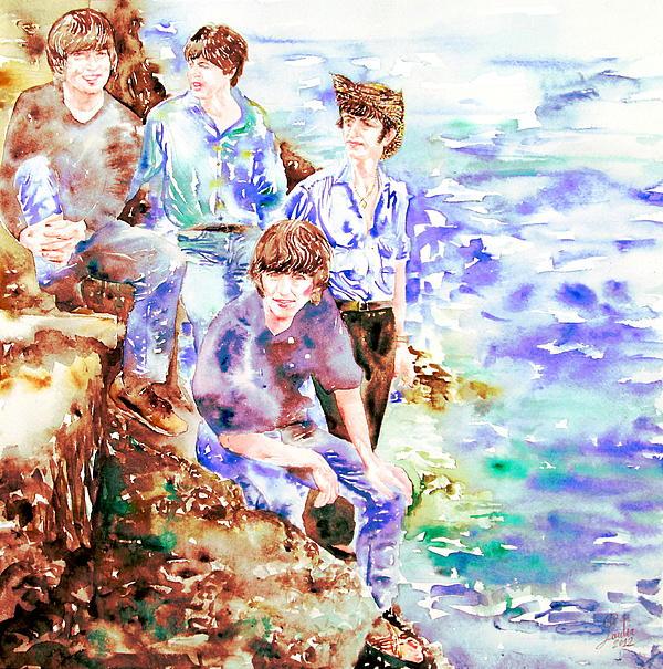 The Beatles At The Sea Watercolor Portrait Print by Fabrizio Cassetta