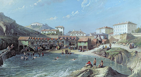 The Beginning Of Sea Swimming In The Old Port Of Biarritz  Print by Jean Jacques Alban de Lesgallery