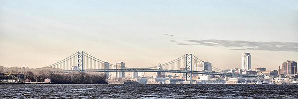 The Ben Franklin Bridge From Penn Treaty Park Print by Bill Cannon