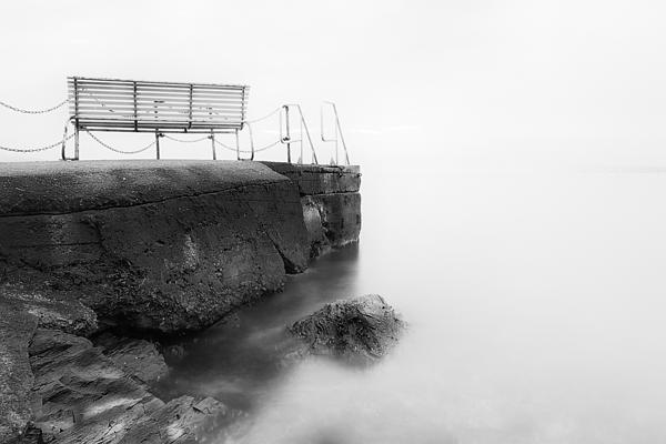 The Bench And The Fog Print by Erik Brede