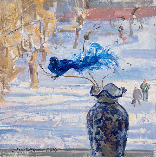 The Blue Bird Print by Victoria Kharchenko