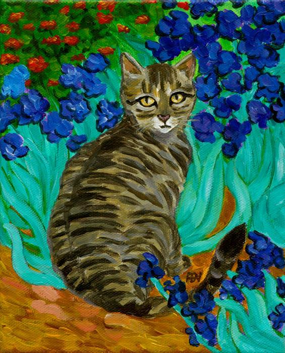 The Cat At Van Gogh's Irises Garden Print by Jingfen Hwu