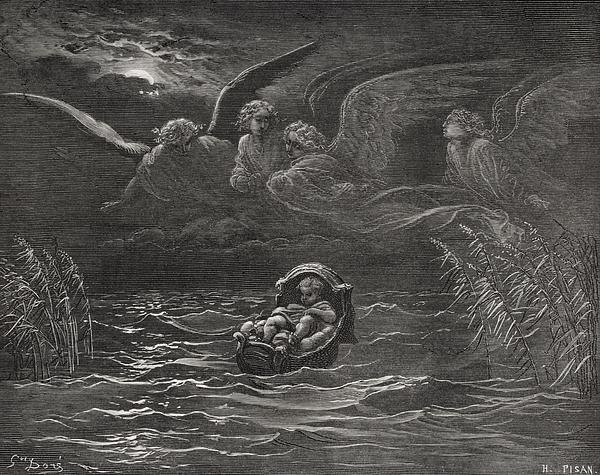 The Child Moses On The Nile Print by Gustave Dore