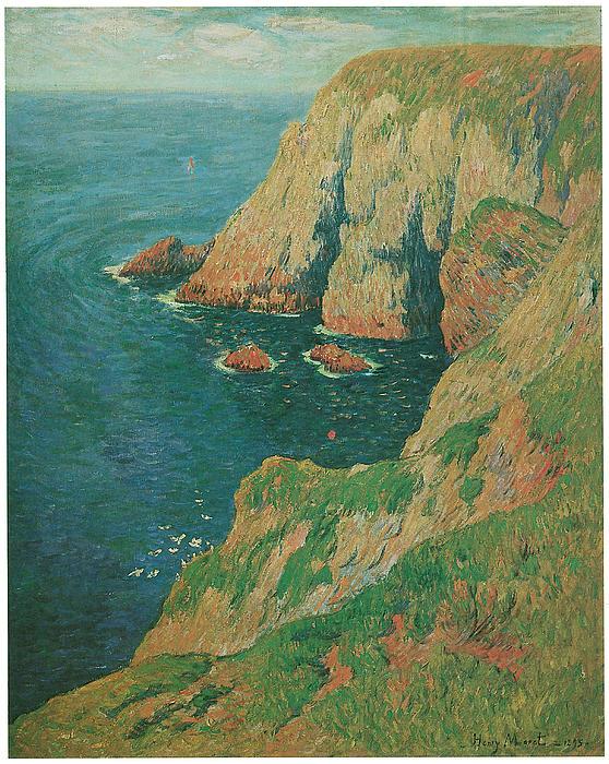 The Cliffs Of Stang Ile De Croix Print by Henry Moret