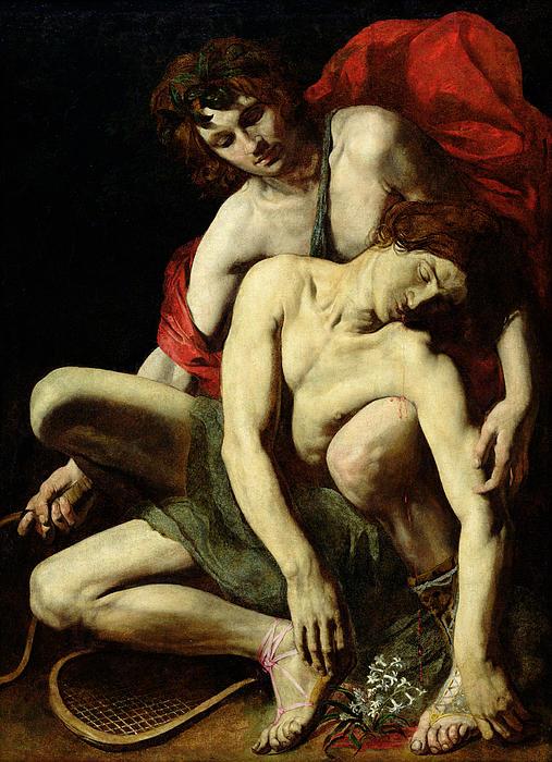 The Death Of Hyacinthus Print by Italian School