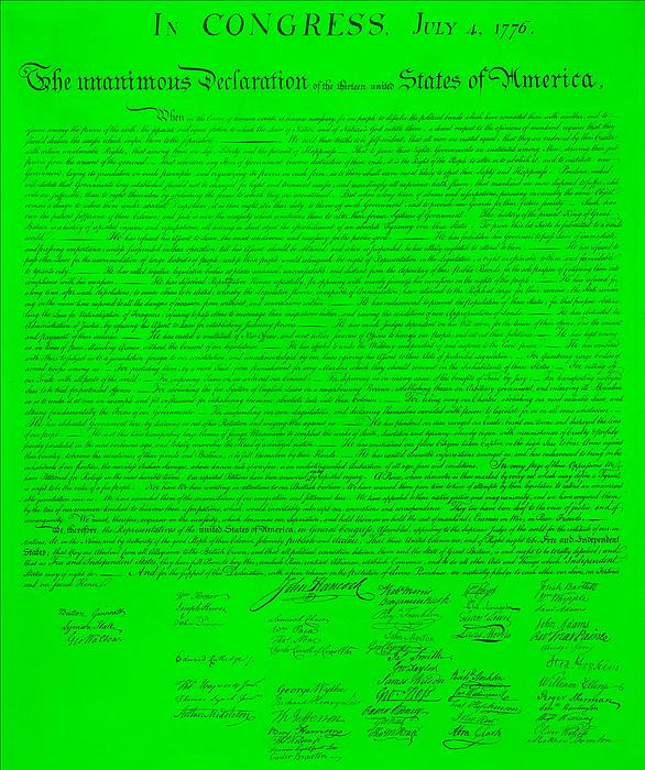 The Declaration Of Independence In Green Print by Rob Hans