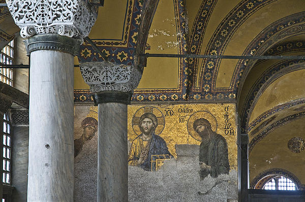 The Deesis Mosaic At Hagia Sophia Print by Ayhan Altun