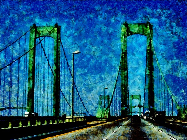 The Delaware Memorial Bridge Print by Angelina Vick