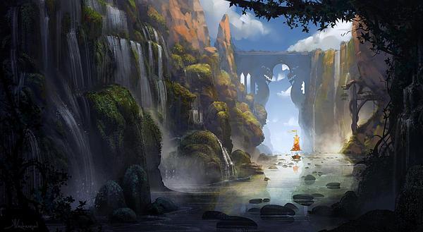 The Dragon Land Print by Kristina Vardazaryan