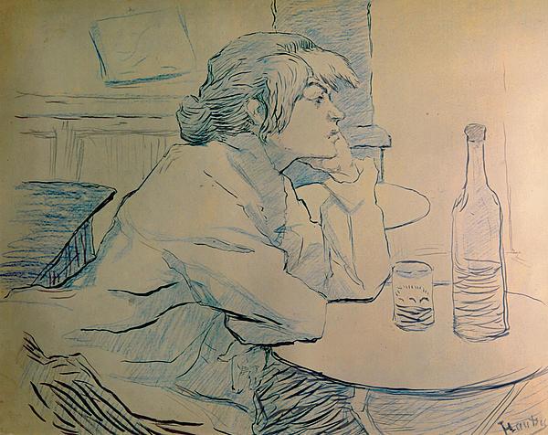 The Drinker Or An Hangover Print by Henri de Toulouse-lautrec