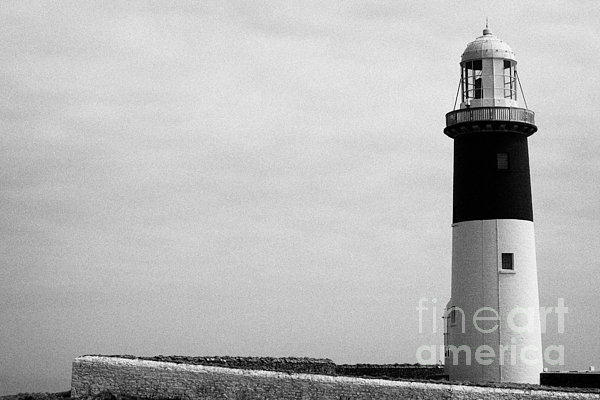 The East Light Lighthouse Altacarry Altacorry Head Rathlin Island Against Grey Sky County Antrim Nor Print by Joe Fox