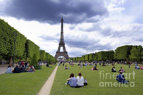 The Eiffel Tower And The Champ De Mars. Paris. France Print by Bernard Jaubert