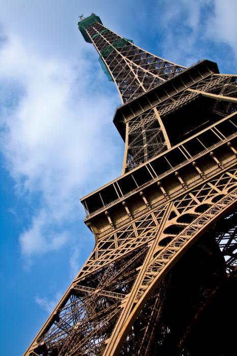 The Eiffel Tower From Below Print by Nila Newsom