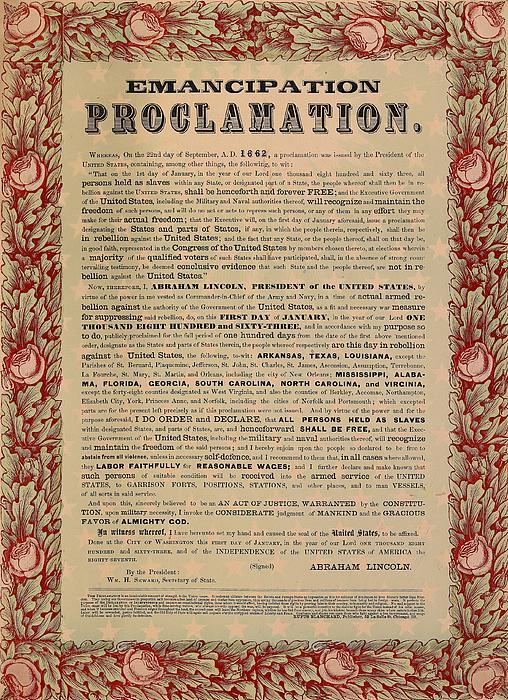 The Emancipation Proclamation Print by American School