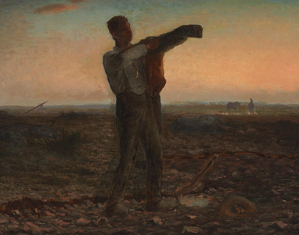 The End Of The Day Effect Of Evening  Print by Jean-Francois Millet