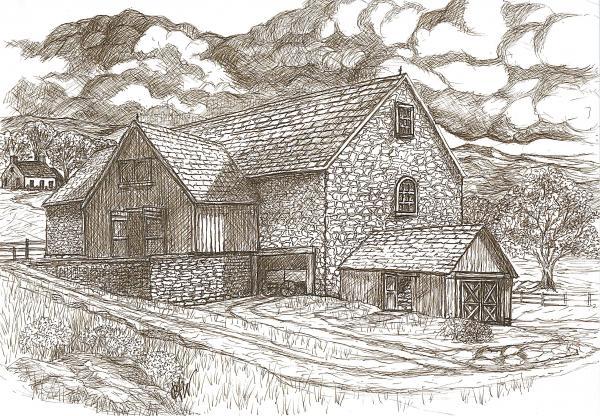 The Family Farm - Sepia Ink Print by Carol Wisniewski