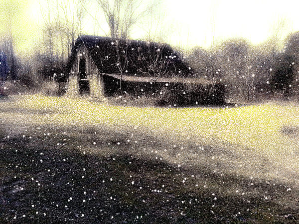The First Snow Fall On The Old Barn Print by Lisa  Griffin