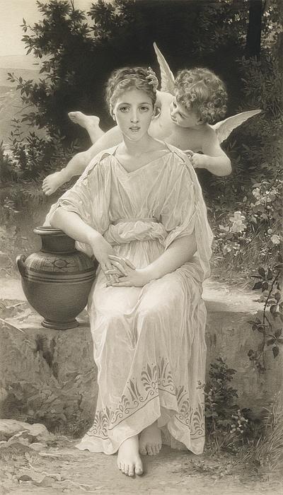 The First Whisper Of Love After Bouguereau Print by John Douglas Miller