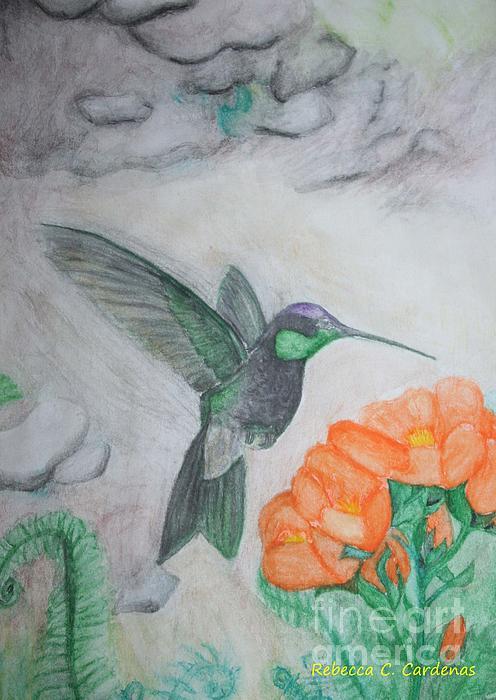 The Flight Of A Hummingbird Print by Rebecca Christine Cardenas