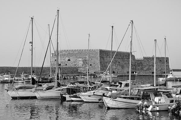 The Fortress And The Port In Iraklio City Print by George Atsametakis